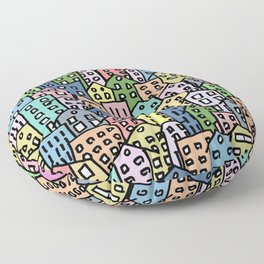 Crowded and colorful city Floor Pillow