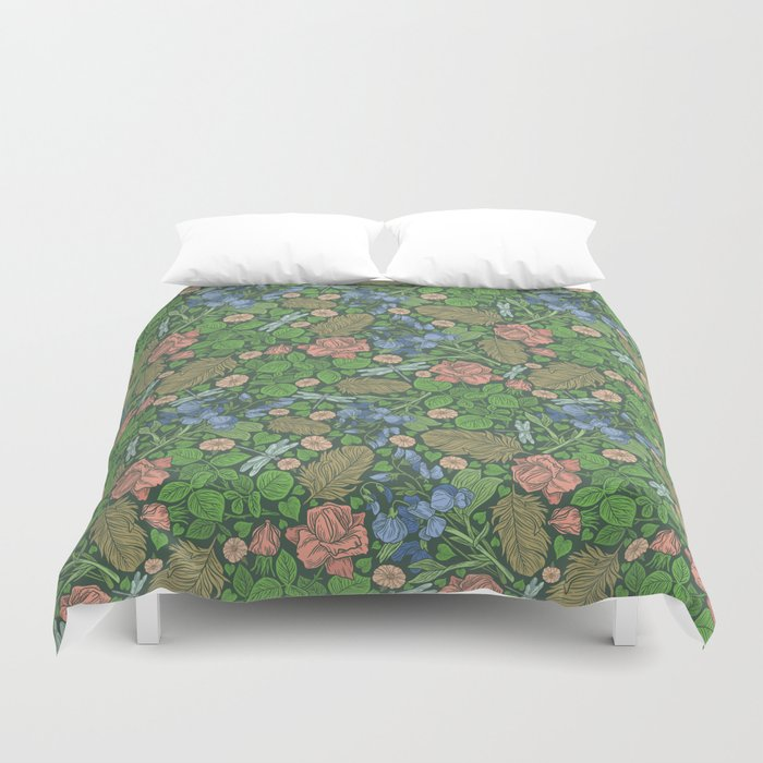 Blue Sweet Peas With Pink Roses And Dragonflie On Green Background Duvet Cover