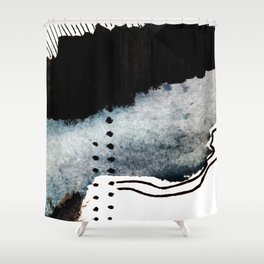 Closer - a black, blue, and white abstract piece Shower Curtain