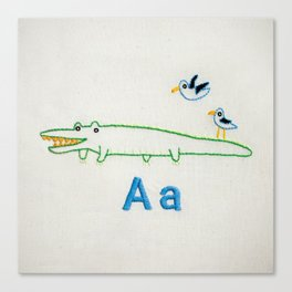 """A"" Alligator Canvas Print"