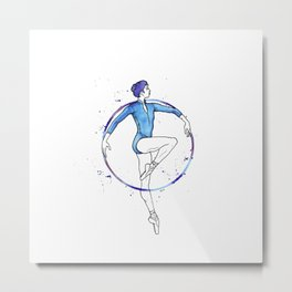 Blue Circle - Ballerina Drawing Metal Print