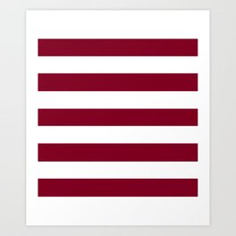 Oxblood - solid color - white stripes pattern Art Print