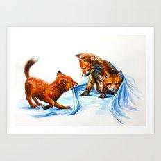 Fox kids Art Print