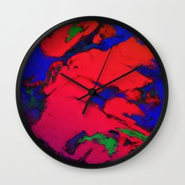 Red erosion Wall Clock