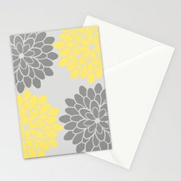 Big Grey and Yellow Flowers Stationery Cards