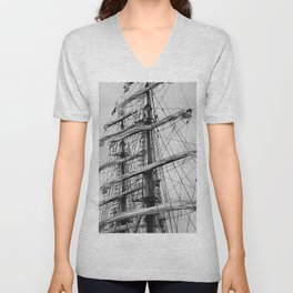 Sailing Ship black and white photo 2 Unisex V-Neck