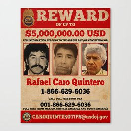 Rafa Quintero wanted poster Canvas Print