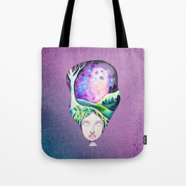 Whimsical Moonscape Girl - Purple Palette Moonscape Watercolor Tote Bag