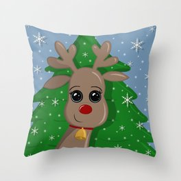 Cute Reindeer Throw Pillow