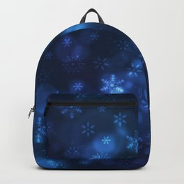 Blue Snowflakes Winter Christmas Pattern Backpack