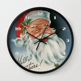 Hello there vintage santa portrait Wall Clock