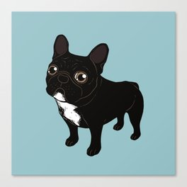 Brindle Frenchie likes to go for a walk to meet some friends Canvas Print