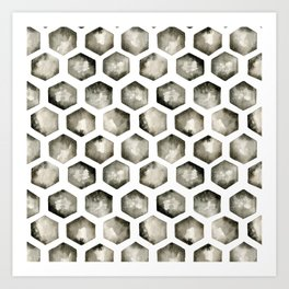 Watercolor Hexagons Art Print