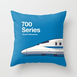 700 Series Shinkansen Blue Side Profile Throw Pillow