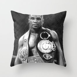 Mike Tyson Pencil Drawing Throw Pillow