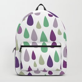 Hand painted pastel lilac purple green water drops pattern Backpack