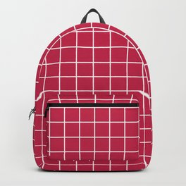 Maroon (Crayola) - fuchsia color - White Lines Grid Pattern Backpack