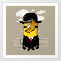 magritte Art Prints featuring Magritte banana by le.duc