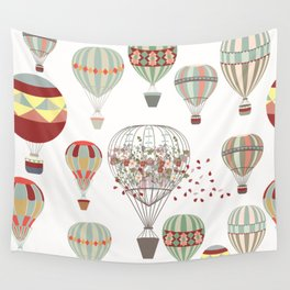 Adventures. Illustration with air balloons in vintage hipster style Wall Tapestry
