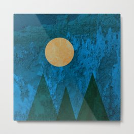 Ancestral, Abstract Landscape Mountains Metal Print
