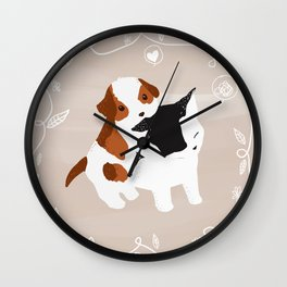 Puppy Cat Relationship Wall Clock
