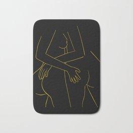 Lesbian hugging print LGBTQ art lesbian wall art LGBT print naked lesbian print erotic poster Bath Mat