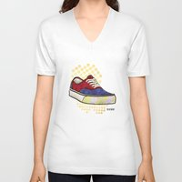 vans V-neck T-shirts featuring Man I Need Vans - Classic Sneaker Icon by Dave Conrey