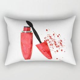 Red mascara fashion watercolor illustration Rectangular Pillow