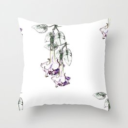 Illustrated Moonflower in Purple and Green Throw Pillow