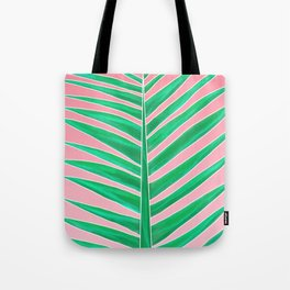 Modern green tropical palm tree leaf watercolor on pink Tote Bag