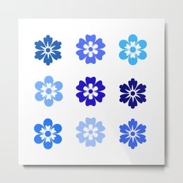 Bib Flower Pack Blue Metal Print