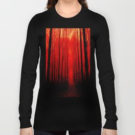 Misty Red Forest Long Sleeve T-shirt