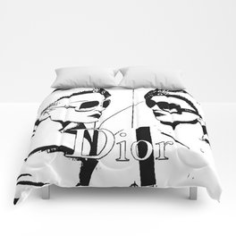 Sketched Fashion White on Black Comforters