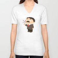 tesla V-neck T-shirts featuring Nikola Tesla by Alapapaju