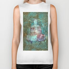 Watercolor Mandala Buddha in Galaxy Biker Tank