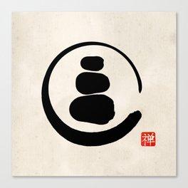 Zen Enso Circle and Zen stones Canvas Print