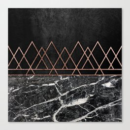 Elegant Rose Gold Triangles & Black & White Marble Canvas Print