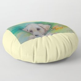 Valentine's Day gift Cute Labrador puppy with flower and heart Floor Pillow