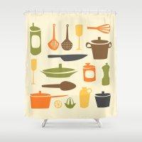 kitchen Shower Curtains featuring Kitchen by Bellwheel