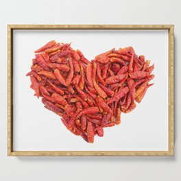 Spicy chilli peppers Valentine heart Serving Tray
