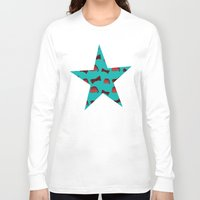 fez Long Sleeve T-shirts featuring Red Fez & Bow Tie (on teal green) by Bohemian Bear by Kristi Duggins