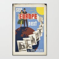 europe Canvas Prints featuring EUROPE by Kathead Tarot/David Rivera