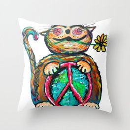 Peace Chubbycat Throw Pillow