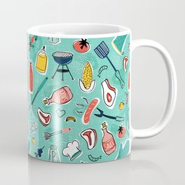 Backyard BBQ Aqua Coffee Mug