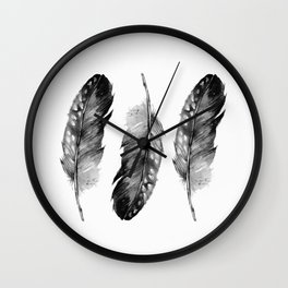 Three Feathers Black And White II Wall Clock