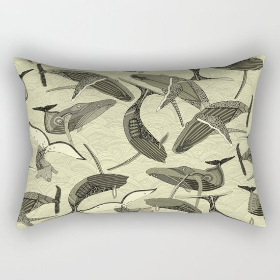 whales and waves natural Rectangular Pillow