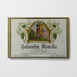 Vintage Pink Clock Yalumba Moselle Wine Bottle Label Print Metal Print