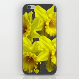 YELLOW SPRING DAFFODILS & CHARCOAL GREY COLOR iPhone Skin