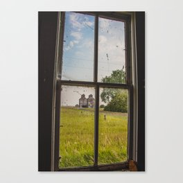 Elevators Through the School Window, Arena, ND Canvas Print