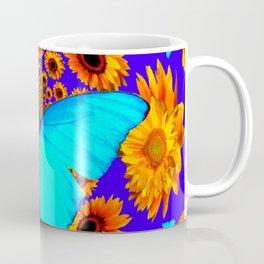 Turquoise Butterflies Golden Sunflowers Blue Abstract Coffee Mug